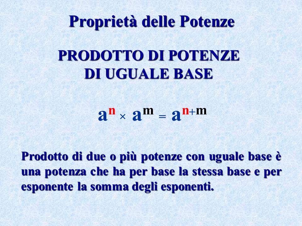 Proprietà delle Potenze PRODOTTO DIPOTENZE PRODOTTO DI POTENZE DI UGUALEBASE DI UGUALE BASE a n × a m = a n + m Prodotto di due o più potenze con ugua
