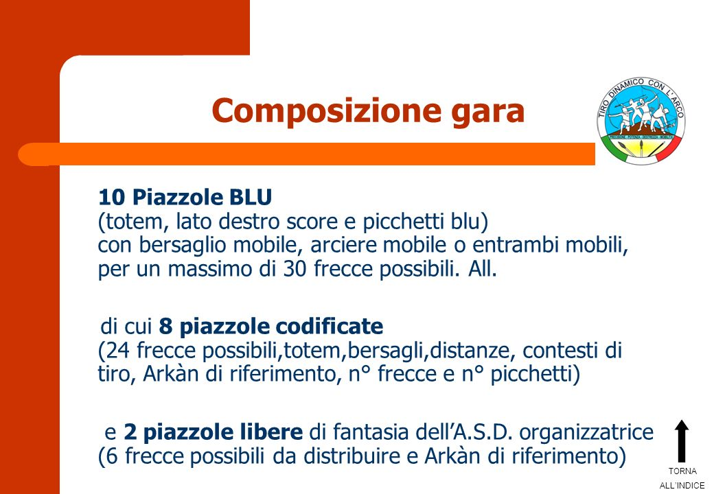 Composizione gara 10 Piazzole BLU (totem, lato destro score e picchetti blu) con bersaglio mobile, arciere mobile o entrambi mobili, per un massimo di 30 frecce possibili.