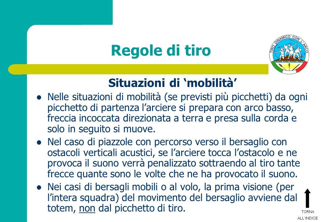 Regole di tiro Situazioni di mobilità Nelle situazioni di mobilità (se previsti più picchetti) da ogni picchetto di partenza larciere si prepara con a