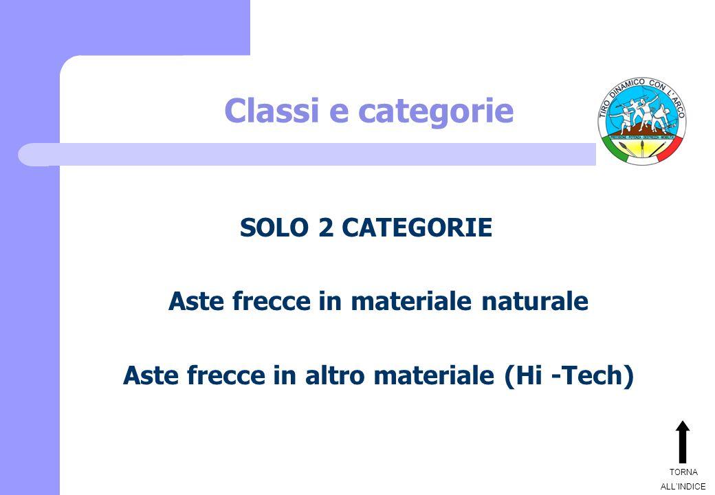 Classi e categorie SOLO 2 CATEGORIE Aste frecce in materiale naturale Aste frecce in altro materiale (Hi -Tech) TORNA ALLINDICE