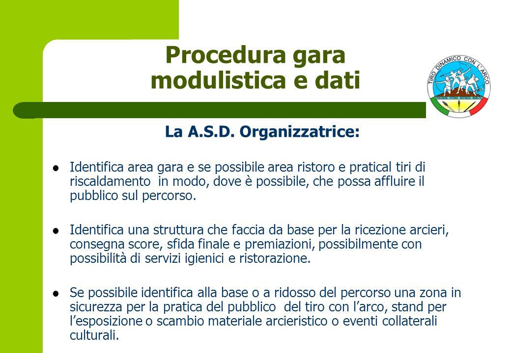 Procedura gara modulistica e dati La A.S.D. Organizzatrice: Identifica area gara e se possibile area ristoro e pratical tiri di riscaldamento in modo,