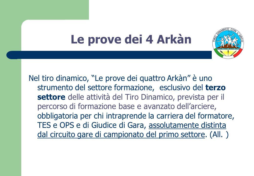 Le prove dei 4 Arkàn Nel tiro dinamico, Le prove dei quattro Arkàn è uno strumento del settore formazione, esclusivo del terzo settore delle attività