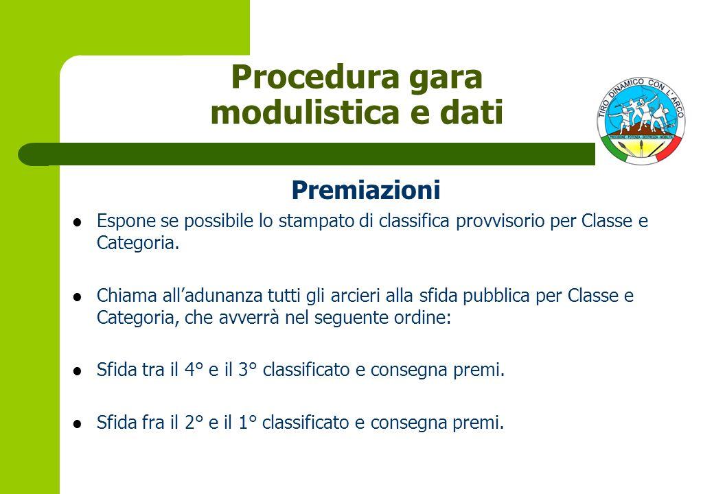 Premiazioni Espone se possibile lo stampato di classifica provvisorio per Classe e Categoria.