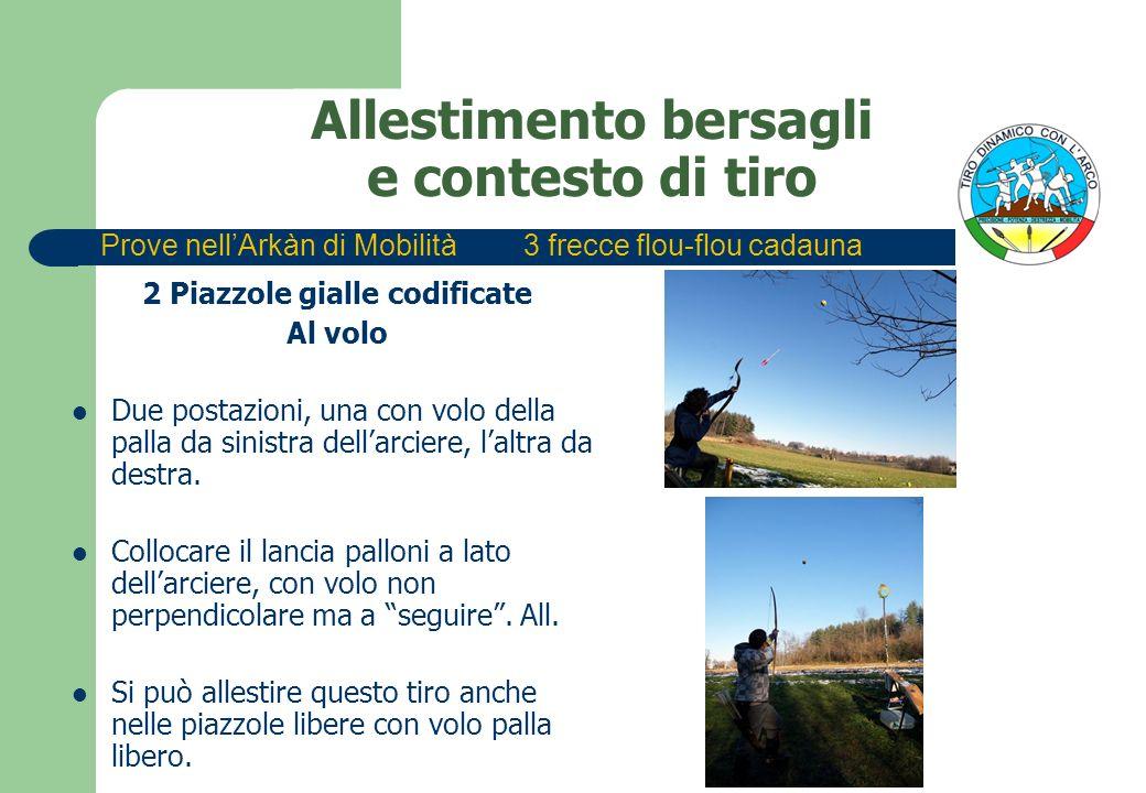 Allestimento bersagli e contesto di tiro 2 Piazzole gialle codificate Al volo Due postazioni, una con volo della palla da sinistra dellarciere, laltra da destra.