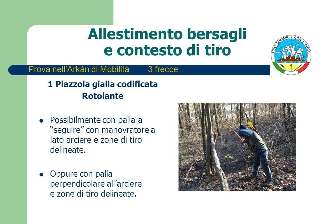 Allestimento bersagli e contesto di tiro 1 Piazzola gialla codificata Rotolante Possibilmente con palla a seguire con manovratore a lato arciere e zone di tiro delineate.