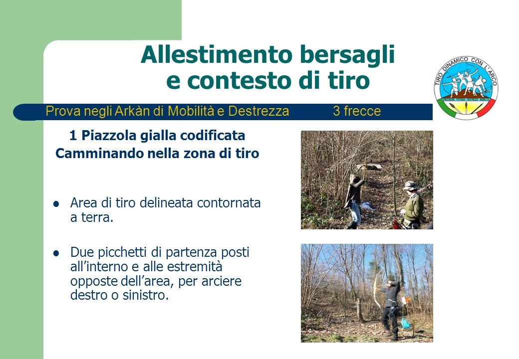 Allestimento bersagli e contesto di tiro 1 Piazzola gialla codificata Camminando nella zona di tiro Area di tiro delineata contornata a terra. Due pic