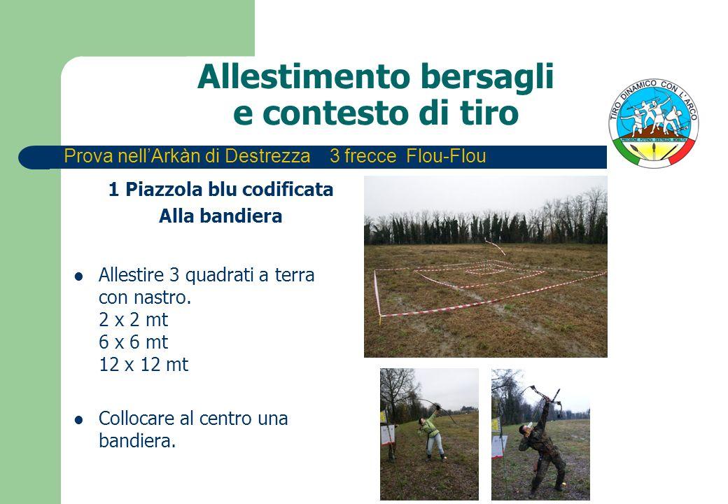 Allestimento bersagli e contesto di tiro 1 Piazzola blu codificata Alla bandiera Allestire 3 quadrati a terra con nastro. 2 x 2 mt 6 x 6 mt 12 x 12 mt