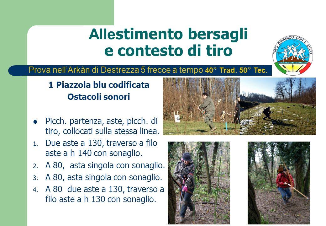 Alle stimento bersagli e contesto di tiro 1 Piazzola blu codificata Ostacoli sonori Picch. partenza, aste, picch. di tiro, collocati sulla stessa line