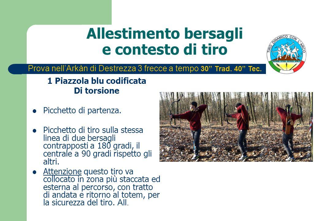 Allestimento bersagli e contesto di tiro 1 Piazzola blu codificata Di torsione Picchetto di partenza. Picchetto di tiro sulla stessa linea di due bers