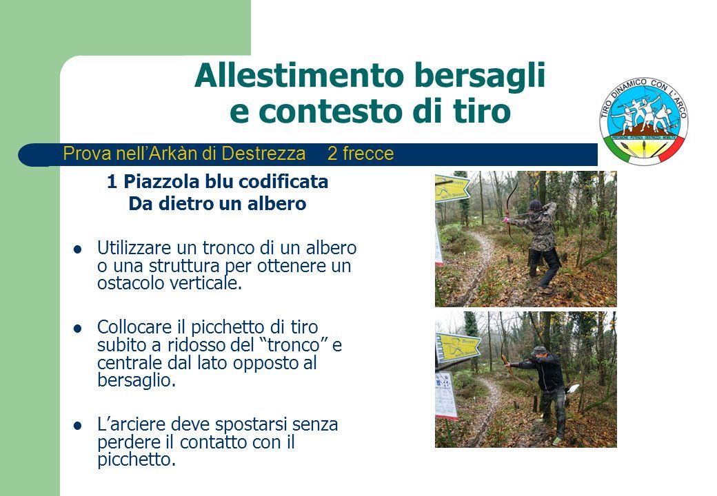 Allestimento bersagli e contesto di tiro 1 Piazzola blu codificata Da dietro un albero Utilizzare un tronco di un albero o una struttura per ottenere un ostacolo verticale.
