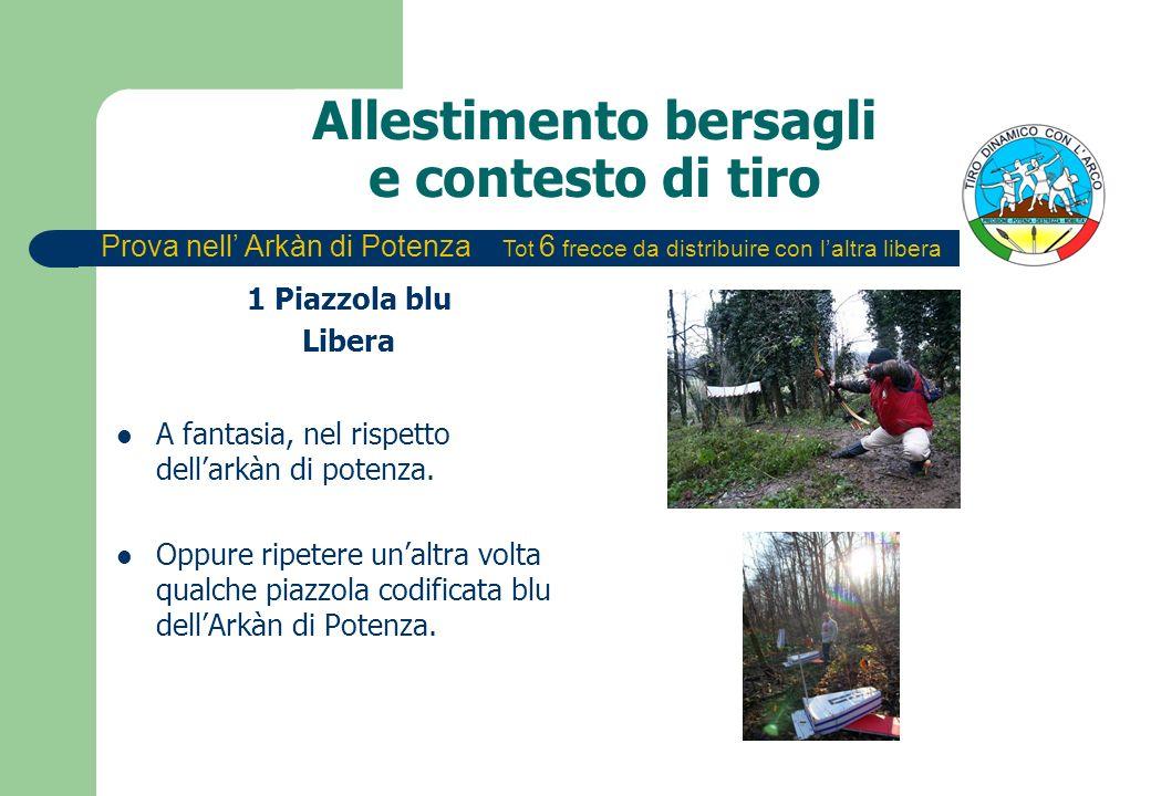 Allestimento bersagli e contesto di tiro 1 Piazzola blu Libera A fantasia, nel rispetto dellarkàn di potenza.