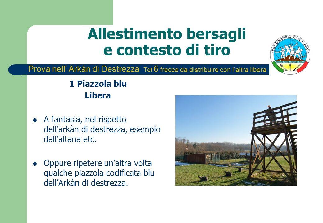 Allestimento bersagli e contesto di tiro 1 Piazzola blu Libera A fantasia, nel rispetto dellarkàn di destrezza, esempio dallaltana etc.