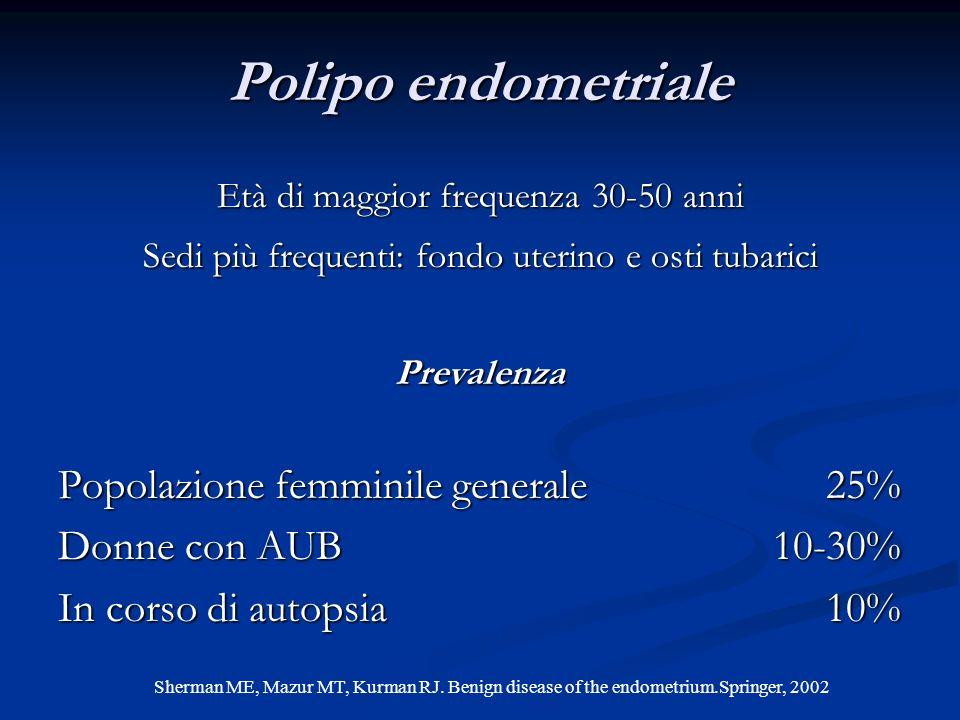 Età di maggior frequenza 30-50 anni Sedi più frequenti: fondo uterino e osti tubarici Prevalenza Popolazione femminile generale25% Donne con AUB 10-30