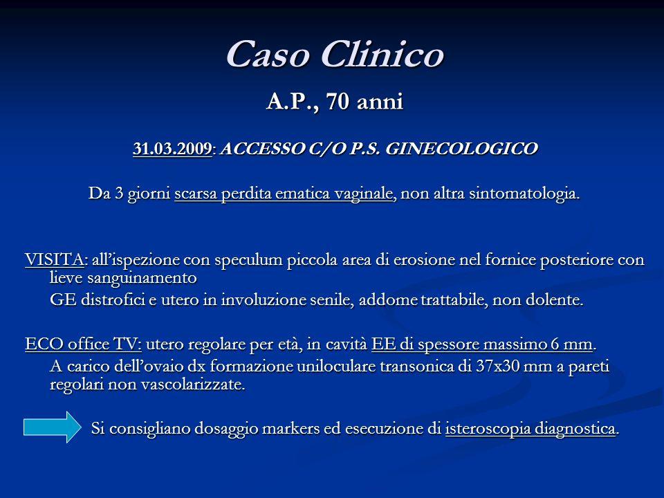A.P., 70 anni 31.03.2009: ACCESSO C/O P.S. GINECOLOGICO Da 3 giorni scarsa perdita ematica vaginale, non altra sintomatologia. VISITA: allispezione co