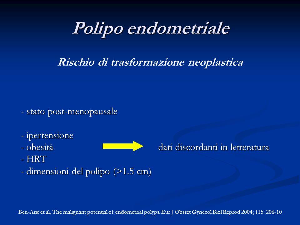 stato post-menopausale - stato post-menopausale - ipertensione - obesità dati discordanti in letteratura - HRT - dimensioni del polipo (>1.5 cm) Polip