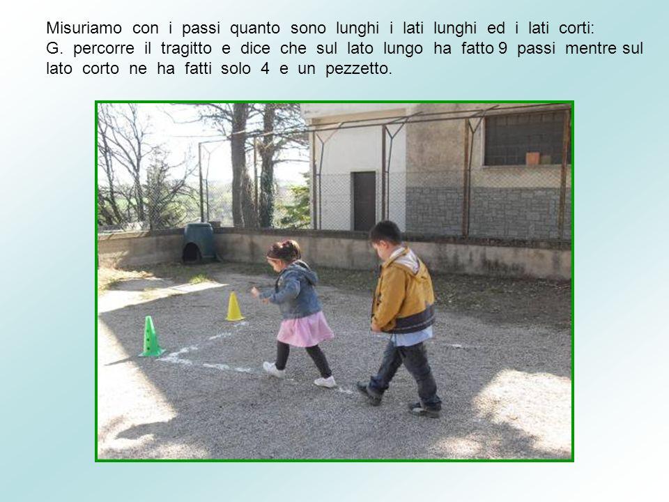Misuriamo con i passi quanto sono lunghi i lati lunghi ed i lati corti: G. percorre il tragitto e dice che sul lato lungo ha fatto 9 passi mentre sul