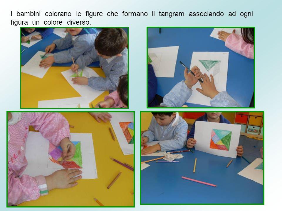 I bambini colorano le figure che formano il tangram associando ad ogni figura un colore diverso.