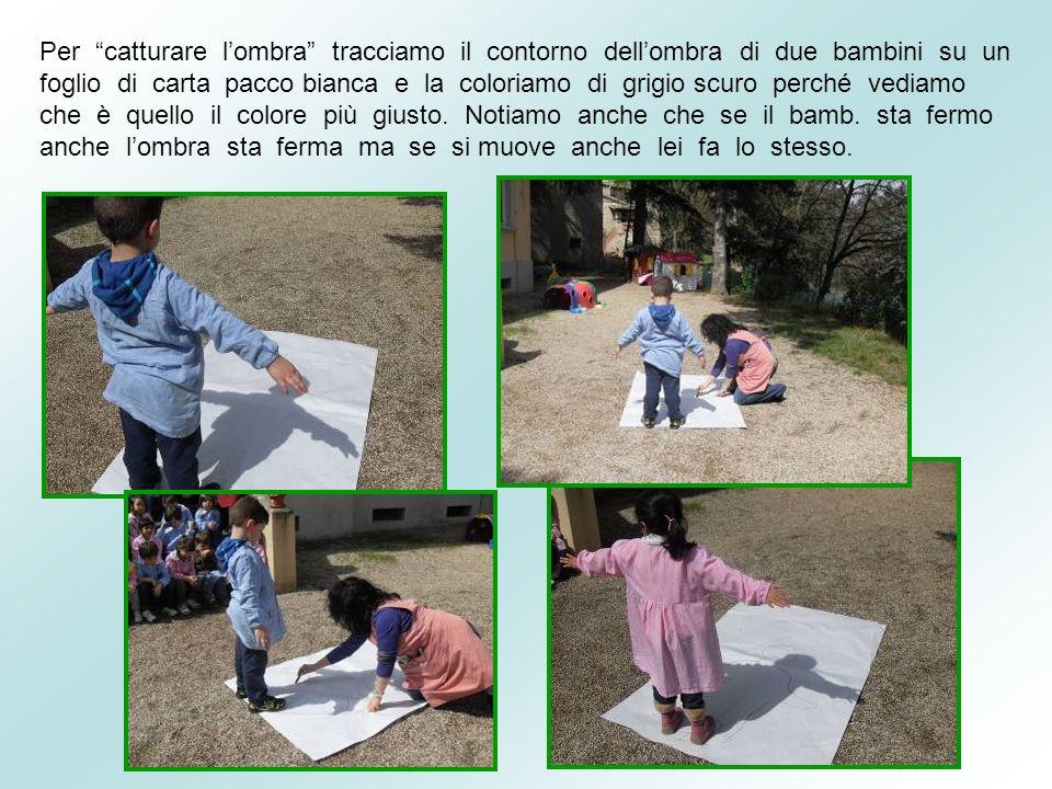 Per catturare lombra tracciamo il contorno dellombra di due bambini su un foglio di carta pacco bianca e la coloriamo di grigio scuro perché vediamo c