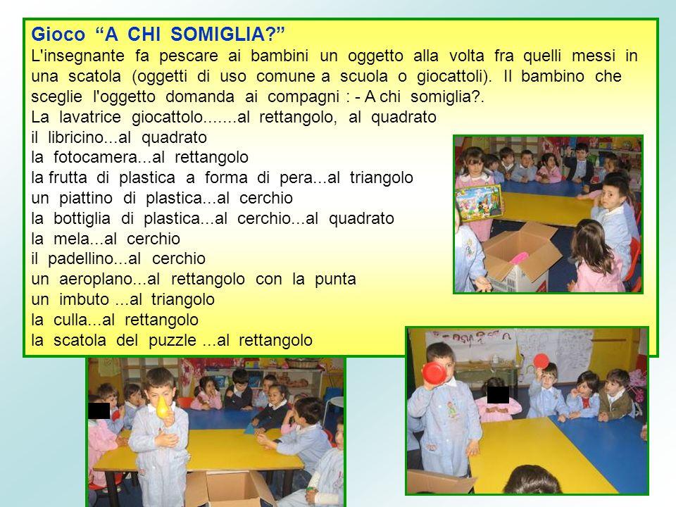 Gioco A CHI SOMIGLIA? L'insegnante fa pescare ai bambini un oggetto alla volta fra quelli messi in una scatola (oggetti di uso comune a scuola o gioca