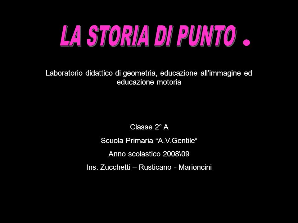 Laboratorio didattico di geometria, educazione allimmagine ed educazione motoria Classe 2° A Scuola Primaria A.V.Gentile Anno scolastico 2008\09 Ins.