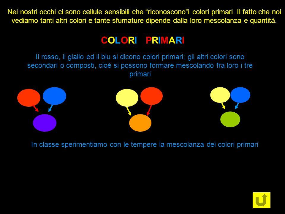 COLORI PRIMARI Il rosso, il giallo ed il blu si dicono colori primari; gli altri colori sono secondari o composti, cioè si possono formare mescolando fra loro i tre primari Nei nostri occhi ci sono cellule sensibili che riconosconoi colori primari.