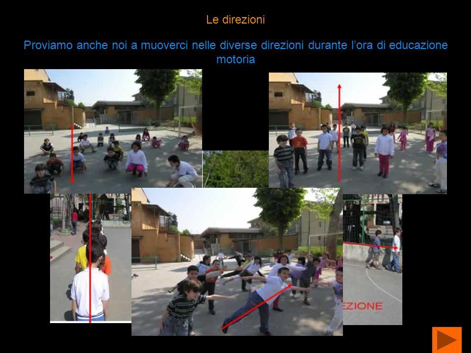 Le direzioni Proviamo anche noi a muoverci nelle diverse direzioni durante lora di educazione motoria