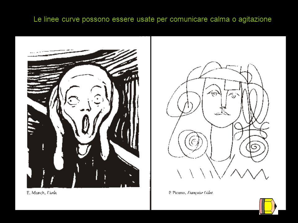 Le linee curve possono essere usate per comunicare calma o agitazione