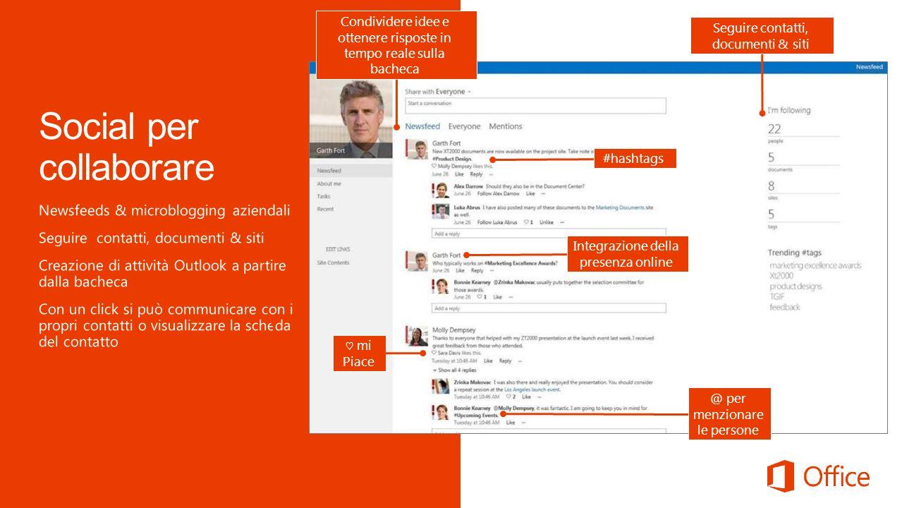 Seguire contatti, documenti & siti Condividere idee e ottenere risposte in tempo reale sulla bacheca mi Piace #hashtags @ per menzionare le persone Integrazione della presenza online