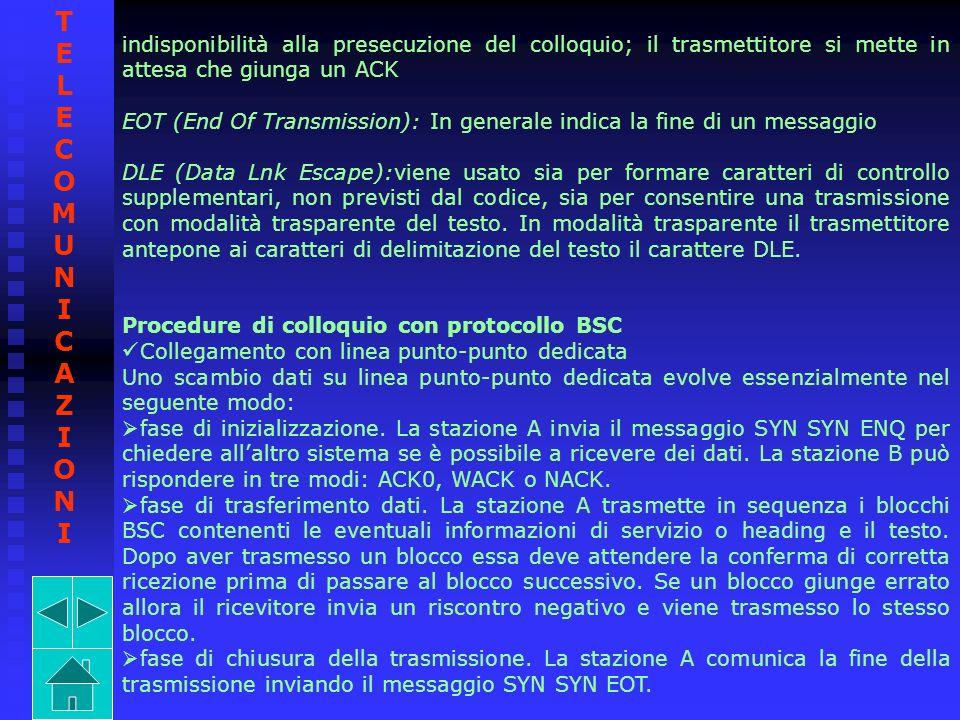 indisponibilità alla presecuzione del colloquio; il trasmettitore si mette in attesa che giunga un ACK EOT (End Of Transmission): In generale indica l