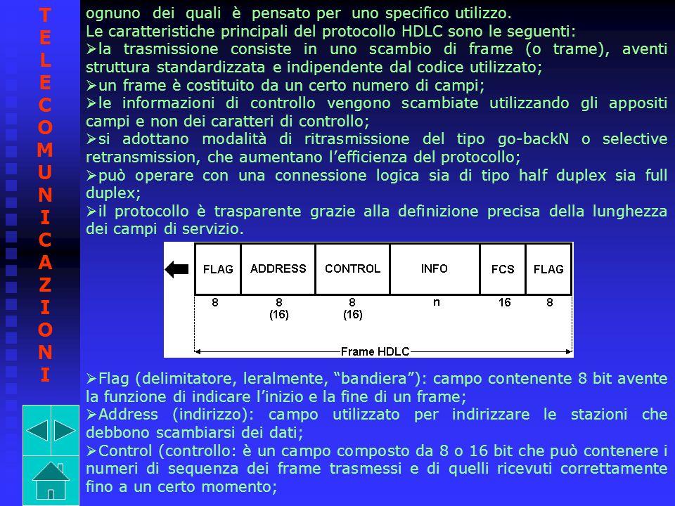 ognuno dei quali è pensato per uno specifico utilizzo. Le caratteristiche principali del protocollo HDLC sono le seguenti: la trasmissione consiste in