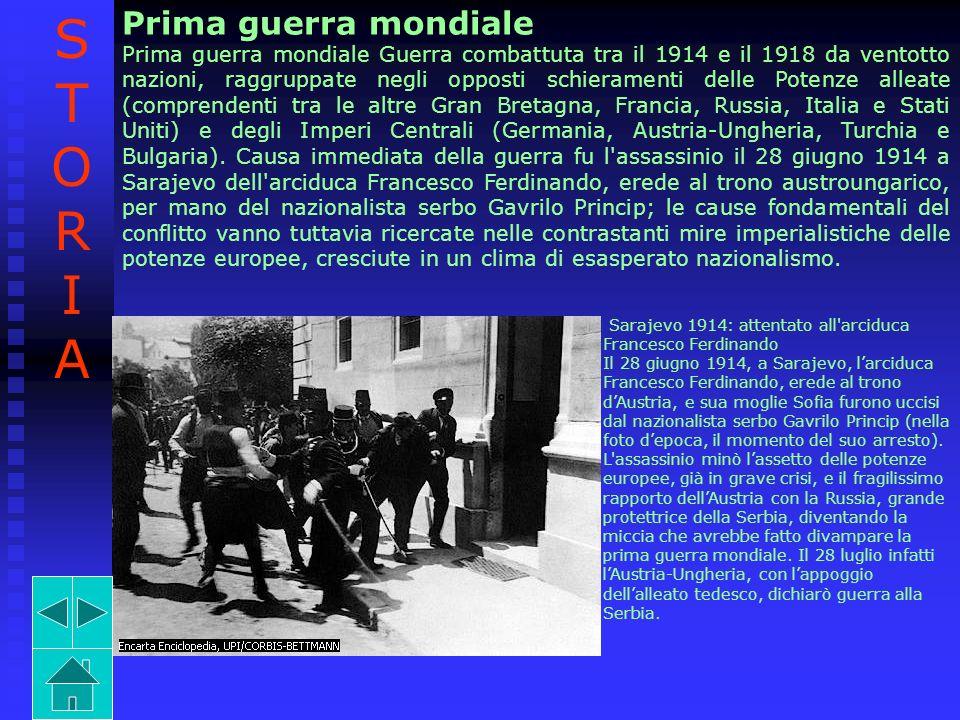 Prima guerra mondiale Prima guerra mondiale Guerra combattuta tra il 1914 e il 1918 da ventotto nazioni, raggruppate negli opposti schieramenti delle