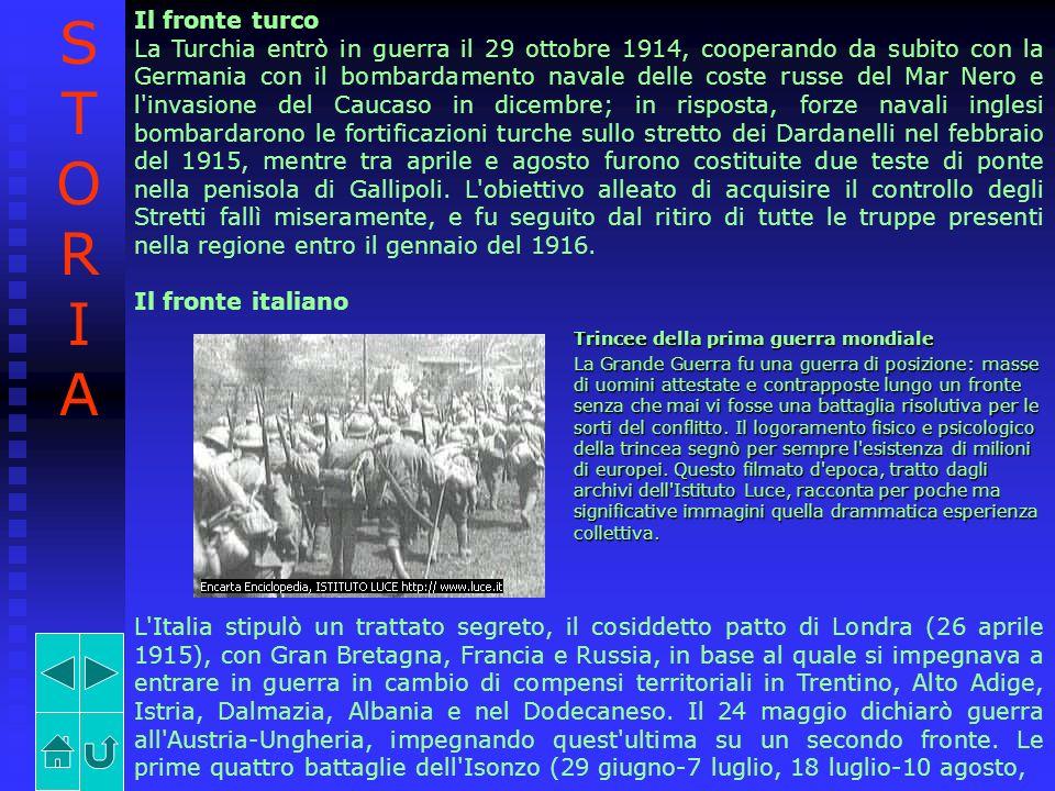 Il fronte turco La Turchia entrò in guerra il 29 ottobre 1914, cooperando da subito con la Germania con il bombardamento navale delle coste russe del