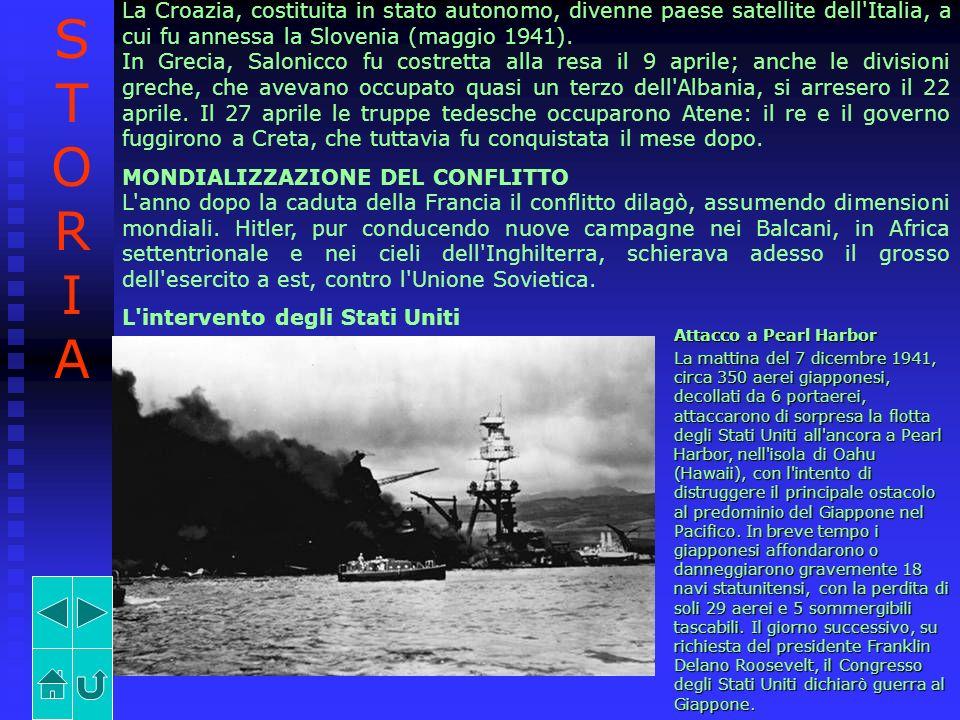 La Croazia, costituita in stato autonomo, divenne paese satellite dell'Italia, a cui fu annessa la Slovenia (maggio 1941). In Grecia, Salonicco fu cos