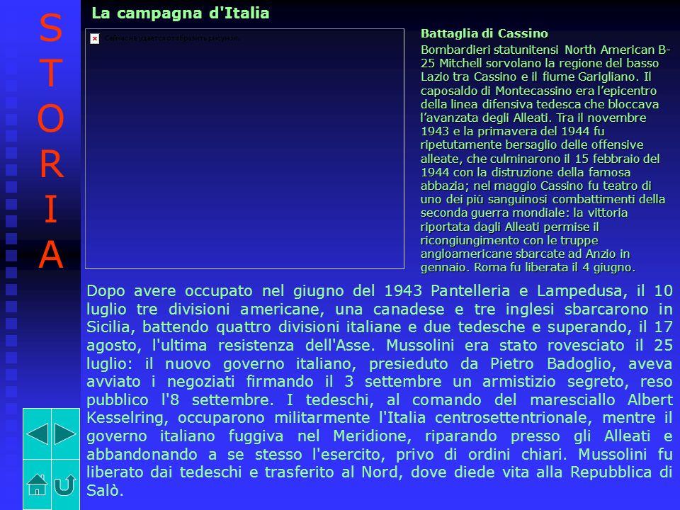 La campagna d'Italia Battaglia di Cassino Bombardieri statunitensi North American B- 25 Mitchell sorvolano la regione del basso Lazio tra Cassino e il