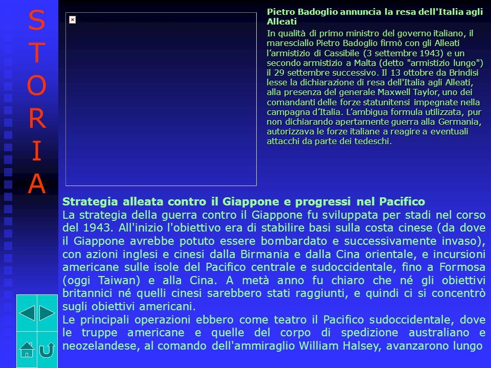 Pietro Badoglio annuncia la resa dell'Italia agli Alleati In qualità di primo ministro del governo italiano, il maresciallo Pietro Badoglio firmò con