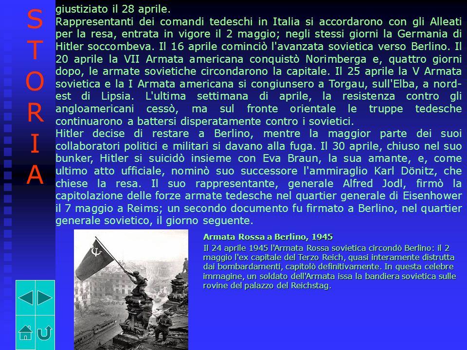 giustiziato il 28 aprile. Rappresentanti dei comandi tedeschi in Italia si accordarono con gli Alleati per la resa, entrata in vigore il 2 maggio; neg