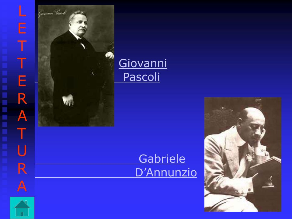 LETTERATURALETTERATURA Giovanni Pascoli Gabriele DAnnunzio