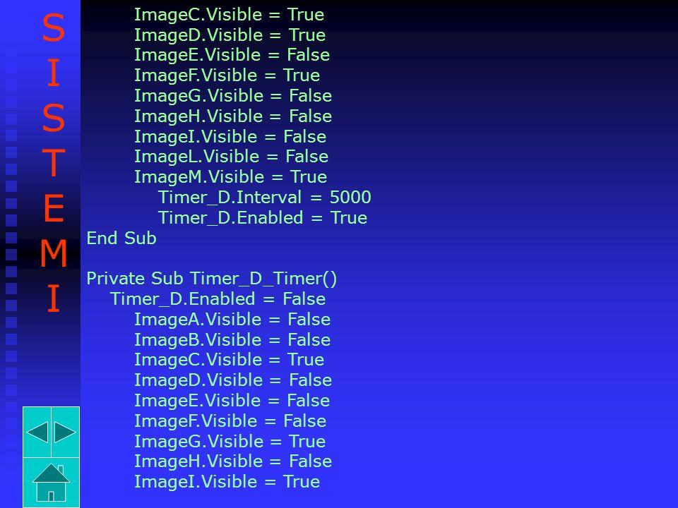 ImageC.Visible = True ImageD.Visible = True ImageE.Visible = False ImageF.Visible = True ImageG.Visible = False ImageH.Visible = False ImageI.Visible