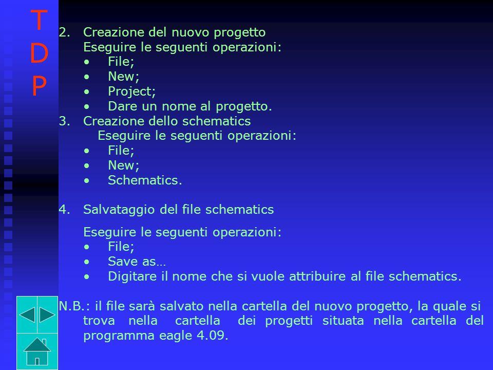 2.Creazione del nuovo progetto Eseguire le seguenti operazioni: File; New; Project; Dare un nome al progetto. 3.Creazione dello schematics Eseguire le
