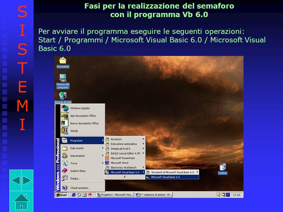 Fasi per la realizzazione del semaforo con il programma Vb 6.0 Per avviare il programma eseguire le seguenti operazioni: Start / Programmi / Microsoft