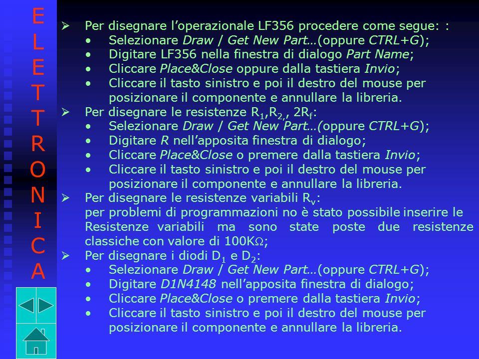 Per disegnare loperazionale LF356 procedere come segue: : Selezionare Draw / Get New Part…(oppure CTRL+G); Digitare LF356 nella finestra di dialogo Pa