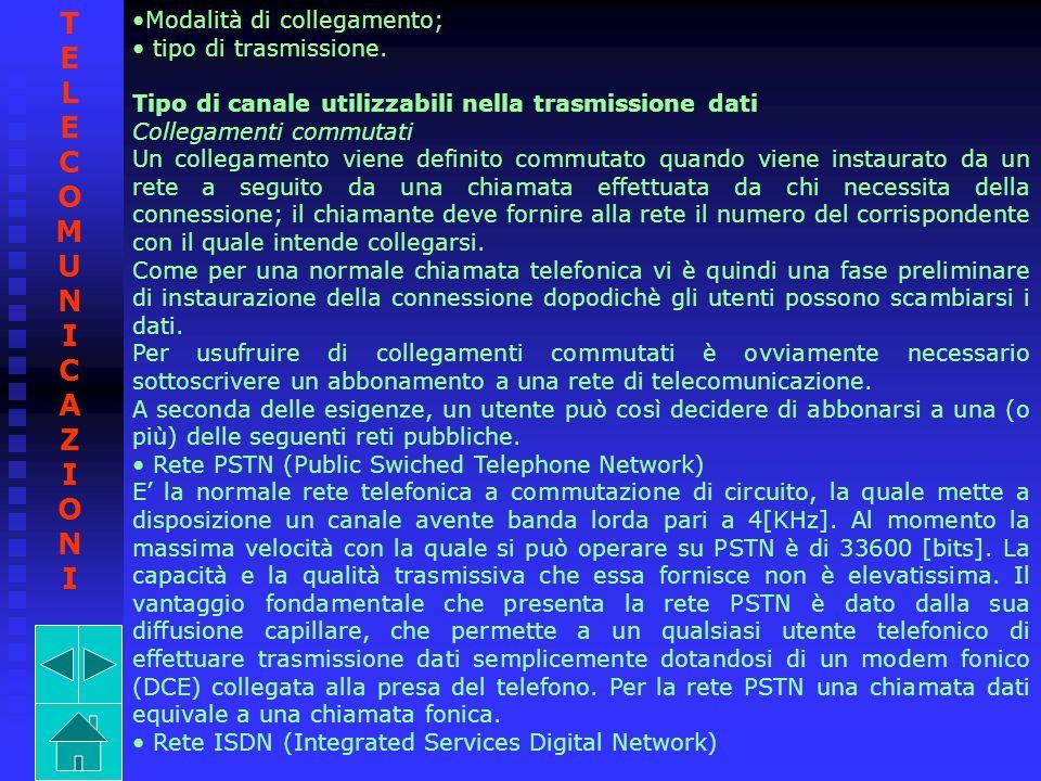 Modalità di collegamento; tipo di trasmissione. Tipo di canale utilizzabili nella trasmissione dati Collegamenti commutati Un collegamento viene defin
