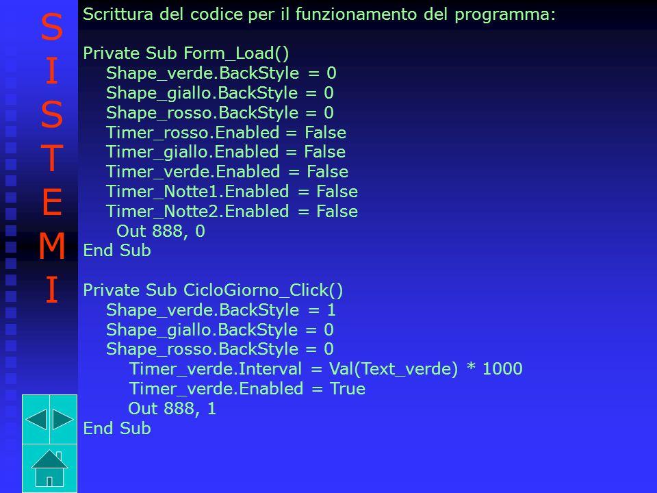 Timer_A.Enabled = False Timer_B.Enabled = False Timer_C.Enabled = False Timer_D.Enabled = False Timer_E.Enabled = False Timer_F.Enabled = False Ciclo_Notte_A.Enabled = False Ciclo_Notte_B.Enabled = False End Sub Private Sub Timer_A_Timer() Timer_A.Enabled = False ImageA.Visible = False ImageB.Visible = True ImageC.Visible = False ImageD.Visible = False ImageE.Visible = False ImageF.Visible = False ImageG.Visible = True ImageH.Visible = True ImageI.Visible = False ImageL.Visible = False ImageM.Visible = True Timer_B.Interval = 5000 SISTEMISISTEMI