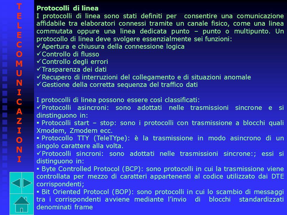 Protocolli di linea I protocolli di linea sono stati definiti per consentire una comunicazione affidabile tra elaboratori connessi tramite un canale f