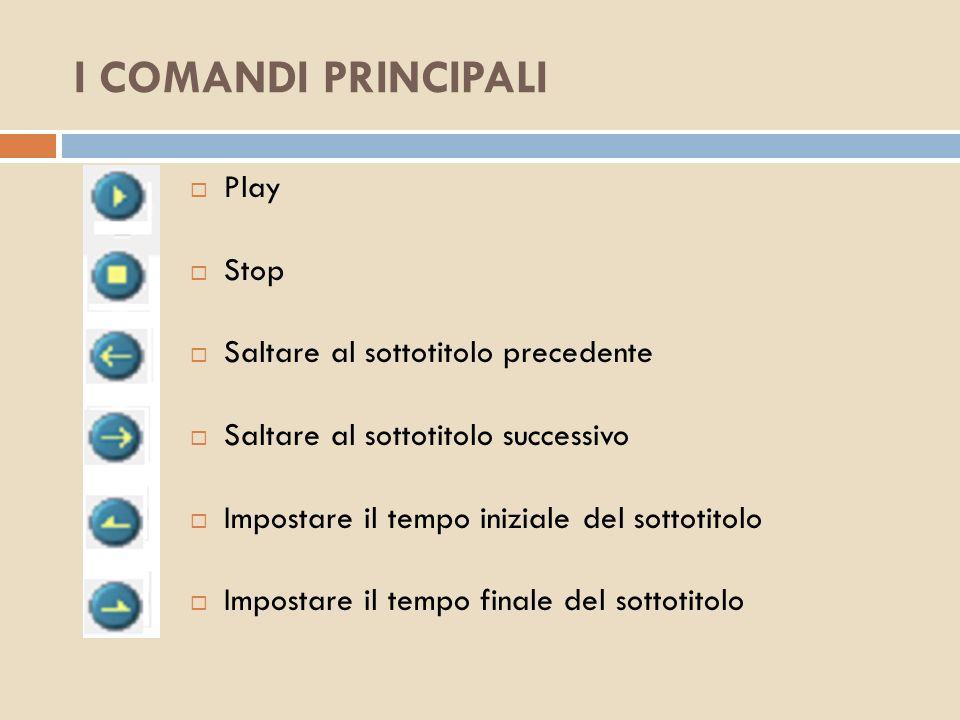 I COMANDI PRINCIPALI Play Stop Saltare al sottotitolo precedente Saltare al sottotitolo successivo Impostare il tempo iniziale del sottotitolo Imposta