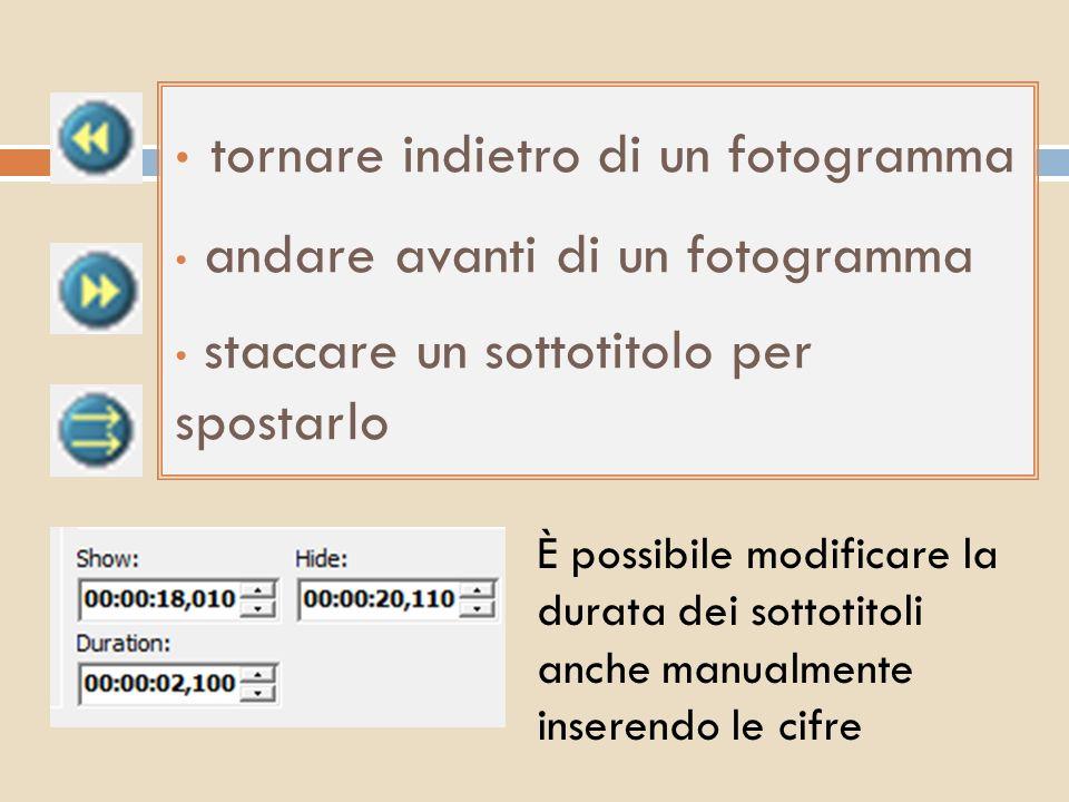 tornare indietro di un fotogramma andare avanti di un fotogramma staccare un sottotitolo per spostarlo È possibile modificare la durata dei sottotitol