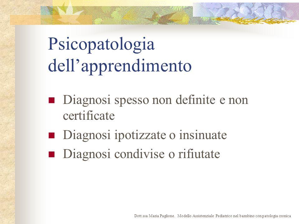 Psicopatologia dellapprendimento Diagnosi spesso non definite e non certificate Diagnosi ipotizzate o insinuate Diagnosi condivise o rifiutate Dott.ssa Maria Paglione.