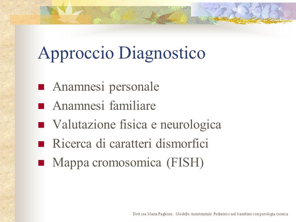 Approccio Diagnostico Anamnesi personale Anamnesi familiare Valutazione fisica e neurologica Ricerca di caratteri dismorfici Mappa cromosomica (FISH) Dott.ssa Maria Paglione.