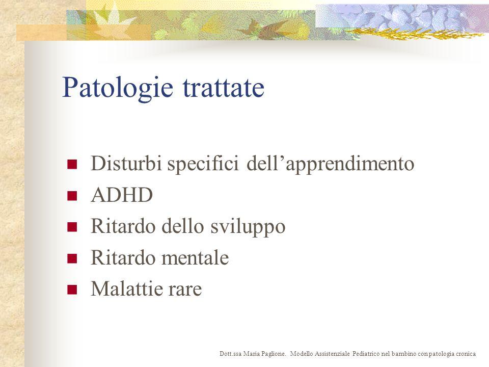 Patologie trattate Disturbi specifici dellapprendimento ADHD Ritardo dello sviluppo Ritardo mentale Malattie rare Dott.ssa Maria Paglione.