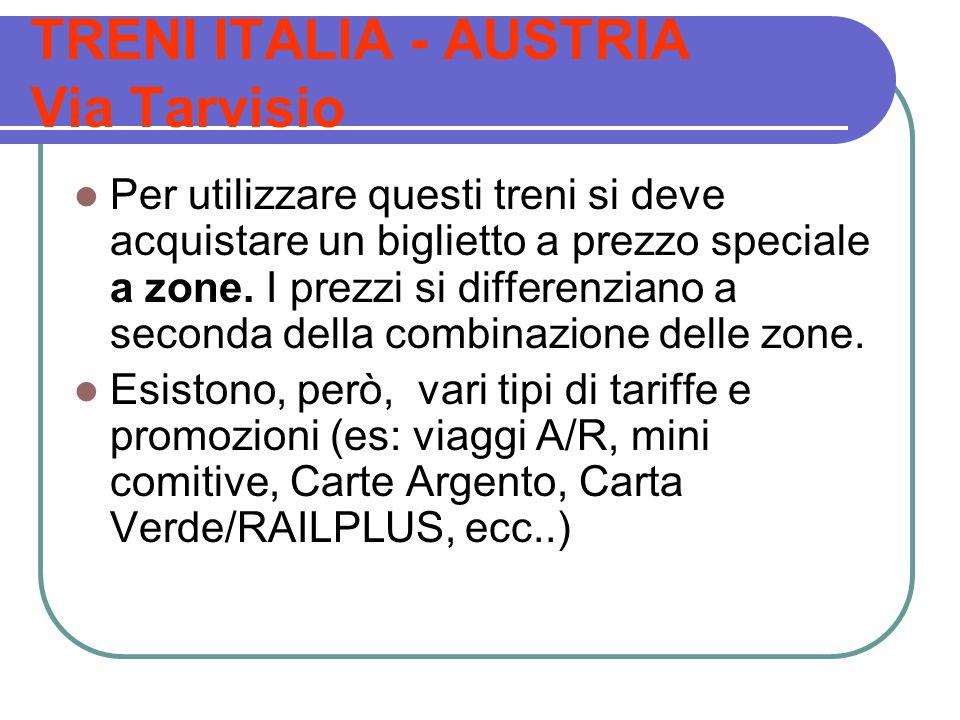 TRENI ITALIA - AUSTRIA Via Tarvisio Per utilizzare questi treni si deve acquistare un biglietto a prezzo speciale a zone. I prezzi si differenziano a